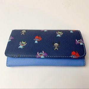Disney Loungefly Stitch Dress-up Bifold Wallet Blue Card Organizer Women's
